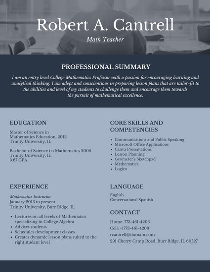 photography teacher resumes