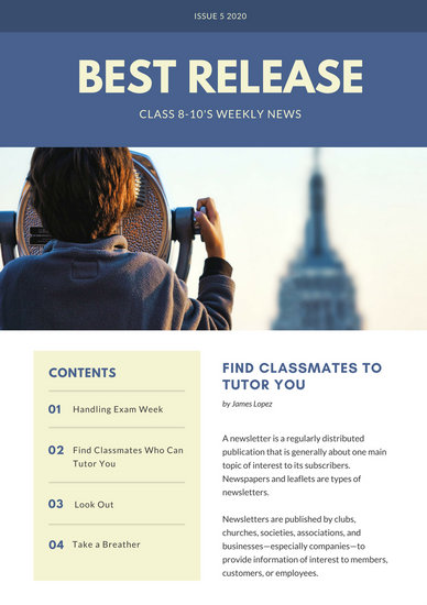 Blue Simple Classroom Newsletter Templates By Canva