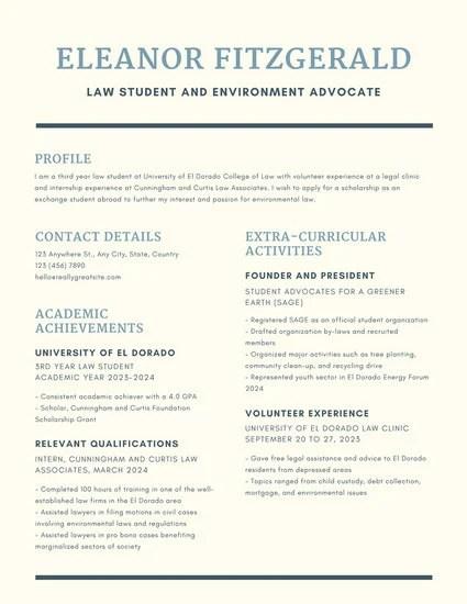 Dark Blue Simple Line Scholarship Resume Templates By Canva