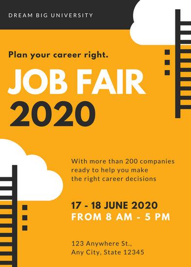 Orange And Black Vector Job Fair Flyer Templates By Canva