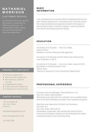 Resume template customer service representative for Greatpapers com templates