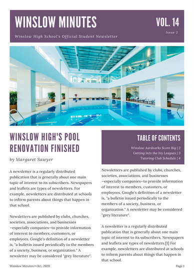 Violet And White Modern Sports High School Newsletter