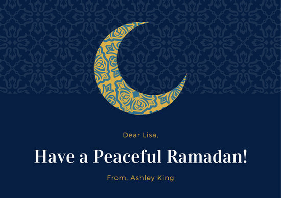 Blue Pattern Moon Muslim Ramadan Card Templates By Canva