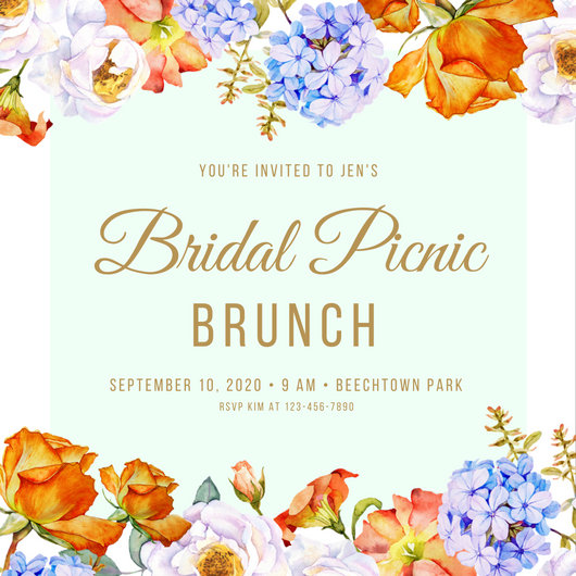 Gold Floral Border Elegant Feminine Picnic Invitation - Templates by ...