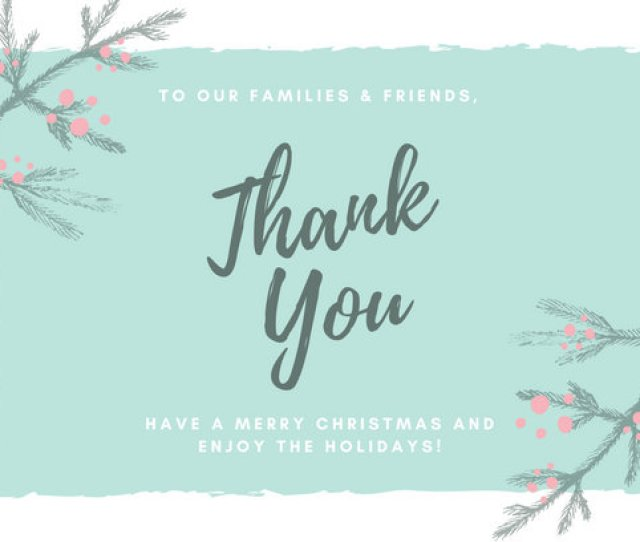 Teal Chalk Leaves Illustration Christmas Thank You Card