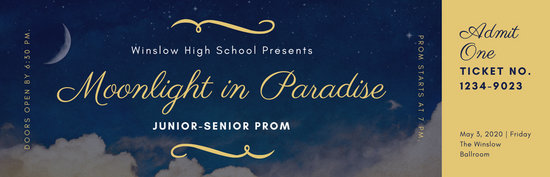 Navy Gold Elegant Photo Moon Prom Ticket  Templates by Canva