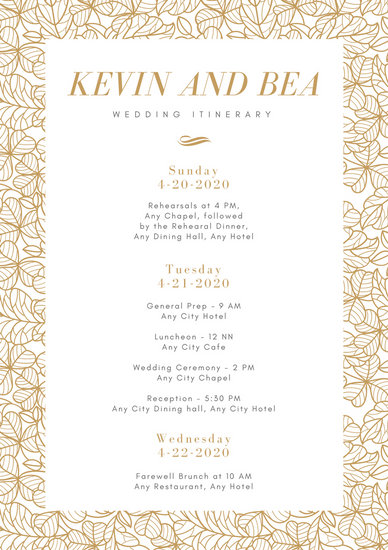 White Gold Leaves Wedding Itinerary Planner Templates By