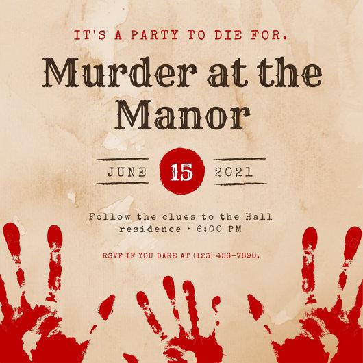 Red Brown Vintage Blood Murder Mystery Invitation