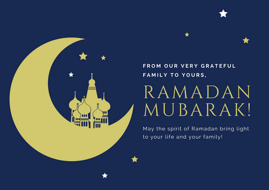 Yellow Blue Ramadan Card Templates By Canva