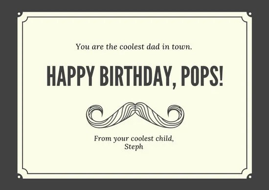 Black And Cream Dad Birthday Card Templates By Canva