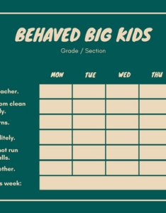 Green beige simple primary school behavior reward chart use this template also templates rh canva