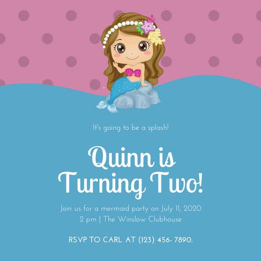 Blue Pink Girly Mermaid Baby Birthday Invitation
