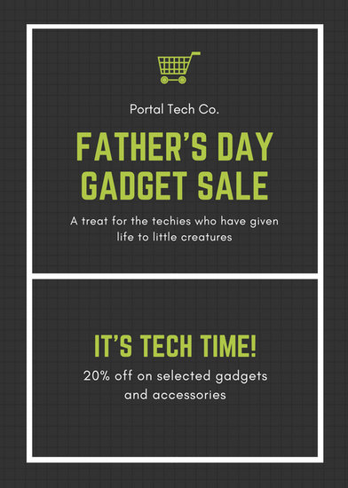 Black and Green Technology Gadgets Fathers Day Flyer