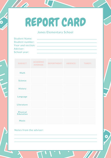 Pink White And Teal School Icons Elementary School Report