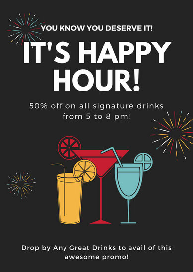 Black Drinks Happy Hour Poster Templates By Canva