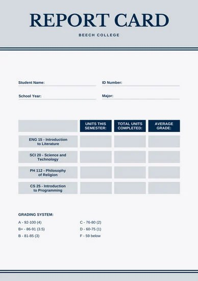 Customize 134 College Report Card templates online  Canva