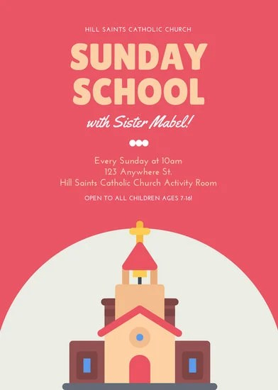 Red Sunday School Church Flyer  Templates by Canva