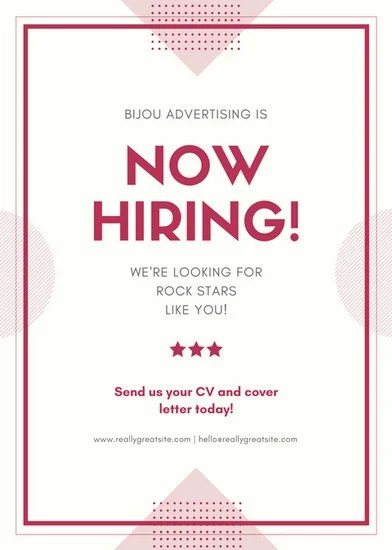 Maroon Job Post Vacancy Announcement Flyer Templates