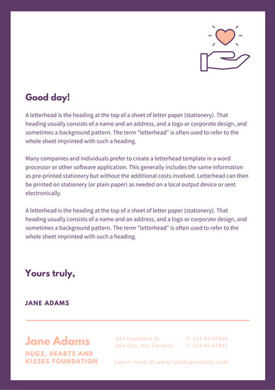 Dark Violet Bordered Charity Letterhead  Templates by Canva
