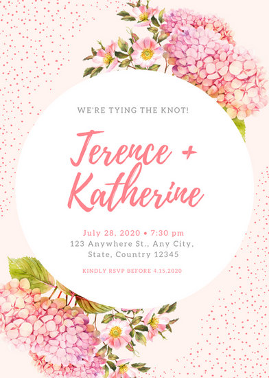 Pink Wedding Reception Invitation Templates By Canva