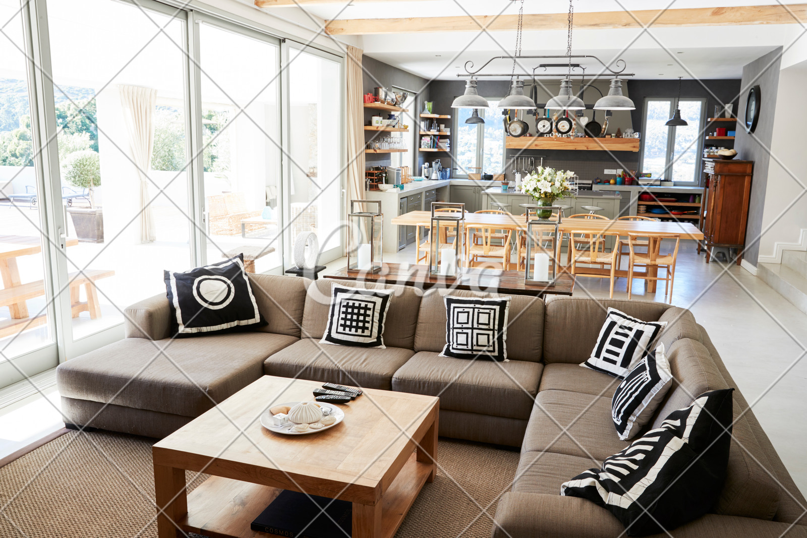 Home Interior With Open Plan Kitchen Lounge And Dining