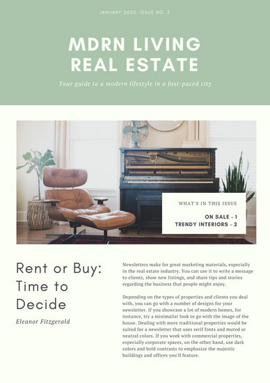 Green And Cream Minimalist Real Estate Newsletter Templates By Canva