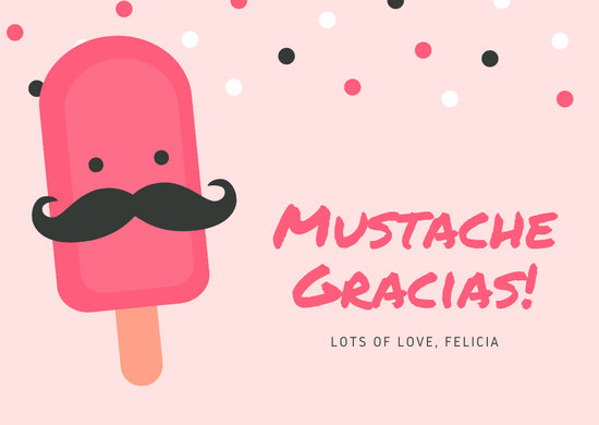 pink popsicle with mustache