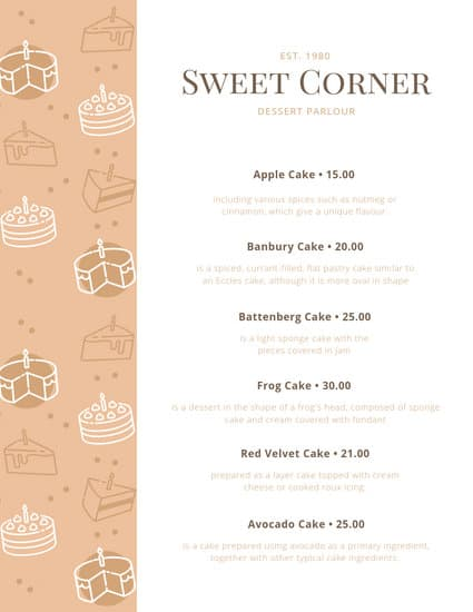 customize 61 dessert menu templates online