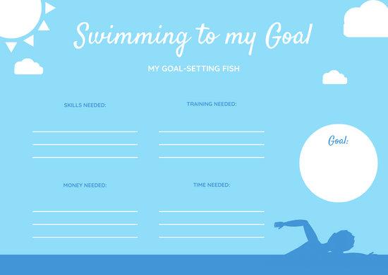 blue white swimming goals