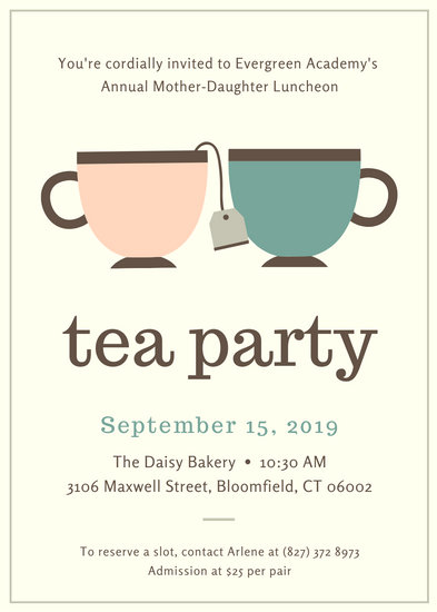 Customize 2841 Tea Party Invitation templates online  Canva