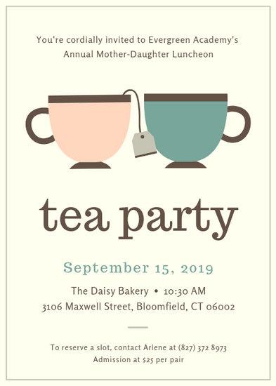 Customize 2892 Tea Party Invitation templates online  Canva