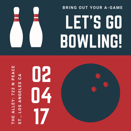 teal red illustrated bowling