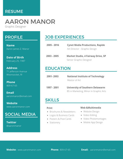 graphic web designer resume