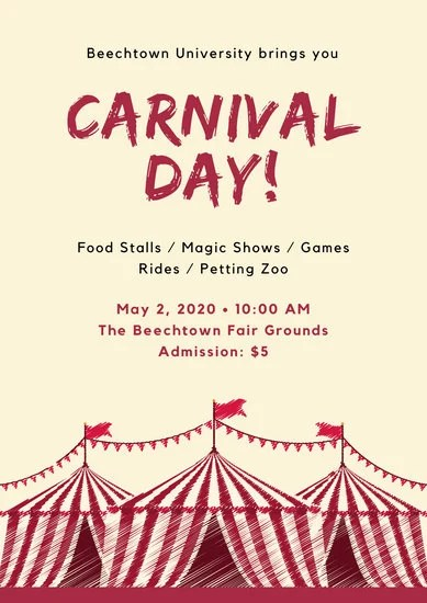 Red Tent Carnival Poster  Templates by Canva