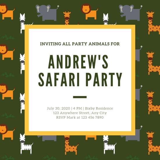 Olive Green Animal Safari Birthday Invitation