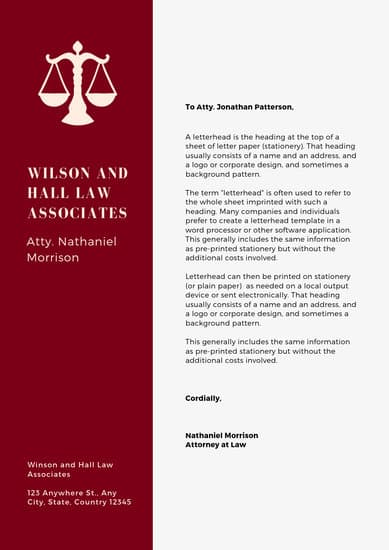 law firm letterhead