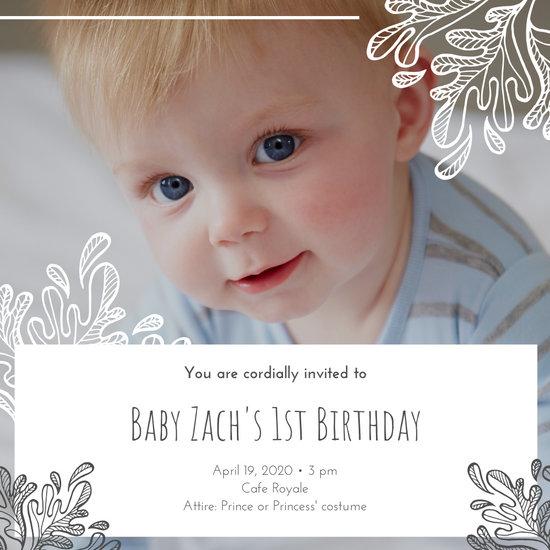 White Grey Boy Son 1st Birthday Invitation