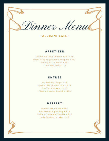 fancy dinner menu template