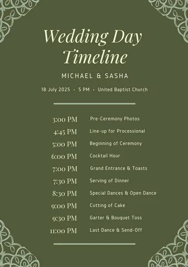 wedding itinerary templates