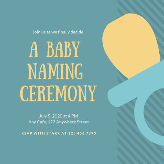 Red And Blue Baby Naming Ceremony Invitation - Templates By