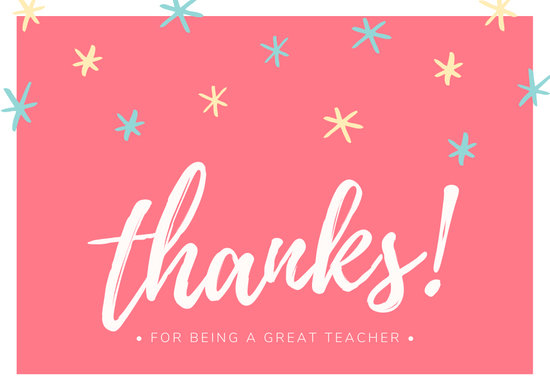 Customize 38 Teacher Thank You Card templates online  Canva