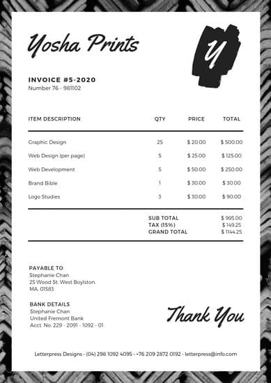 Black and White Tribal Pattern Invoice Letterhead