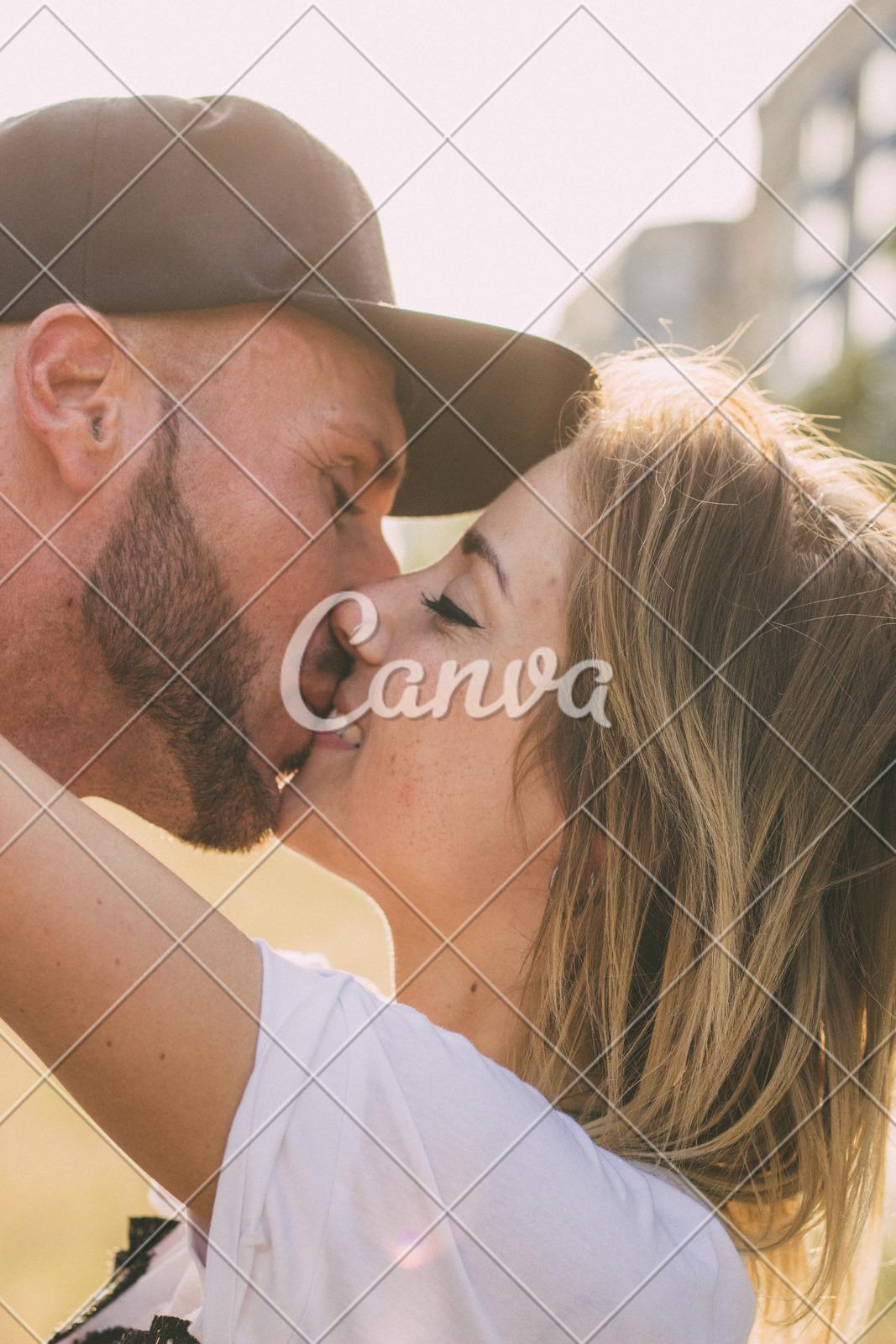 romantic couple intimate kissing
