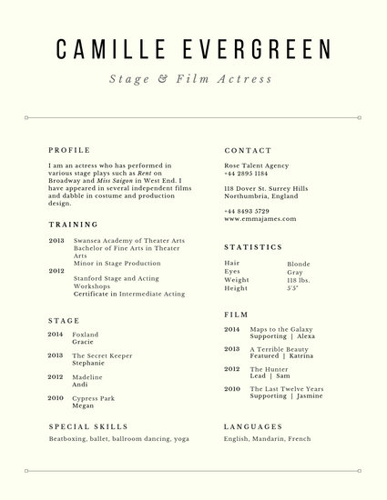 Customize 29 Acting Resume templates online  Canva