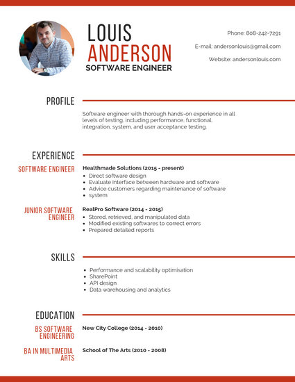 Professional Software Engineer Resume  Templates by Canva