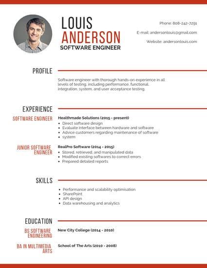 sample college engineering resume