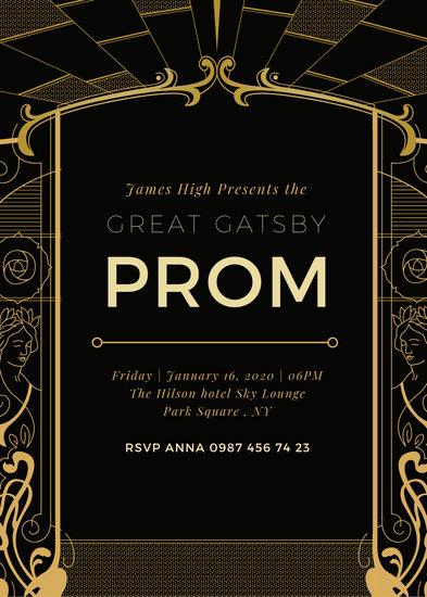 Customize 64 Great Gatsby Invitation templates online  Canva