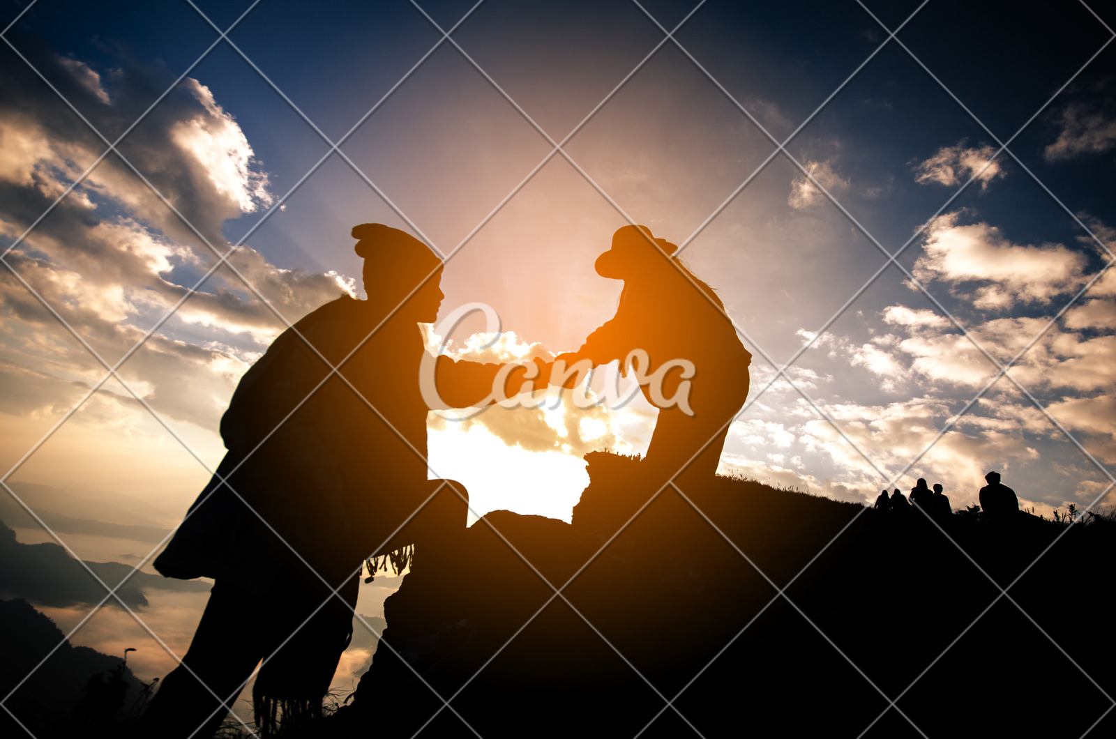 silhouette of people helping