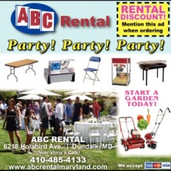 Chair Cover Rentals Baltimore Md In Bedroom Party Abc Rental Maryland