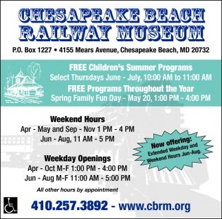 FREE Children's Summer Programs, Chesapeake Beach Railway Museum, Chesapeake Beach, MD